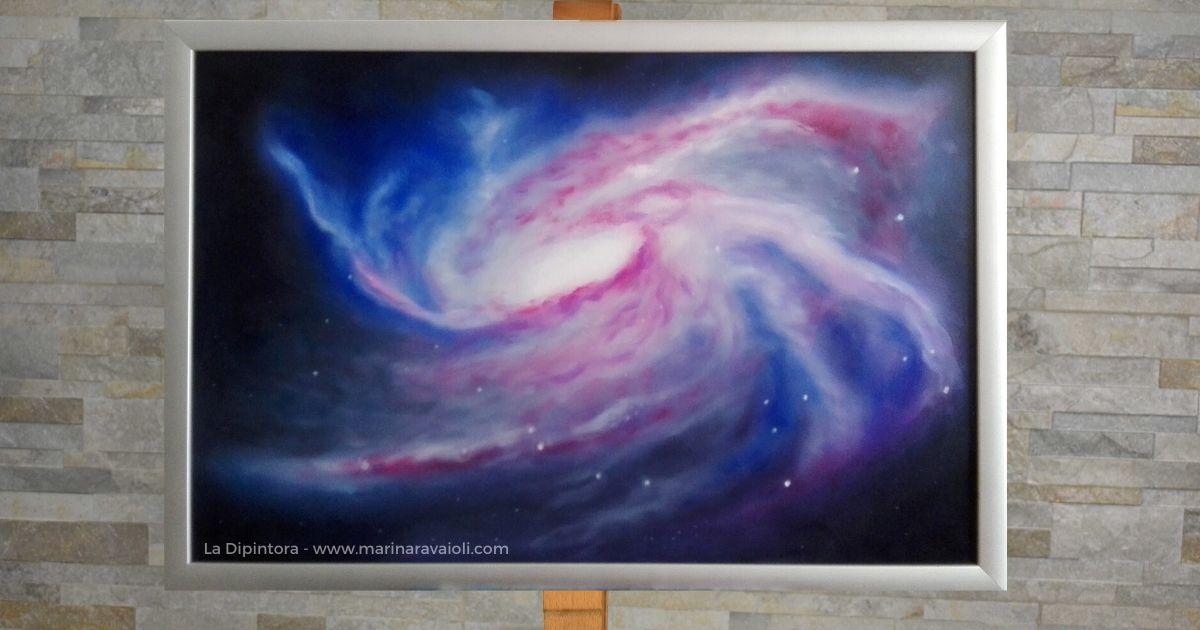 """""""La Rivelazione di Hunab Ku"""" - Marina Ravaioli Dimensioni 61 x 40 cm - Olio e pigmenti su legno MDF, finitura opaca. Disponibile. Soggetto, galassia a spirale con prevalenza di colori bianco, blu, viola e magenta."""