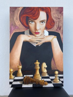 """""""La Regina di scacchi"""" di Daniela De Carlo. Olio e Acrilico su tela - 40x60 cm"""