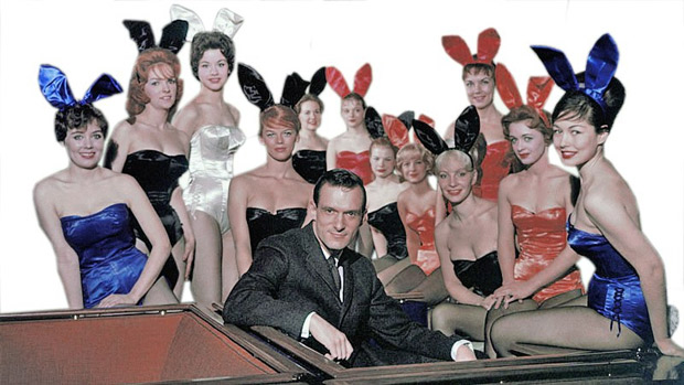 Playboy-bunnies-with-Hef-first-club-first-costume
