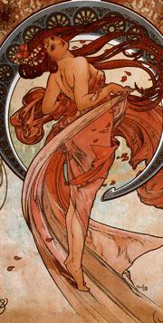 """""""Las Artes, Danza"""" de Alphonse Mucha (1898)."""