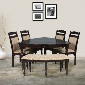 baylor solid wood six seater dining set in dark expresso color hometown