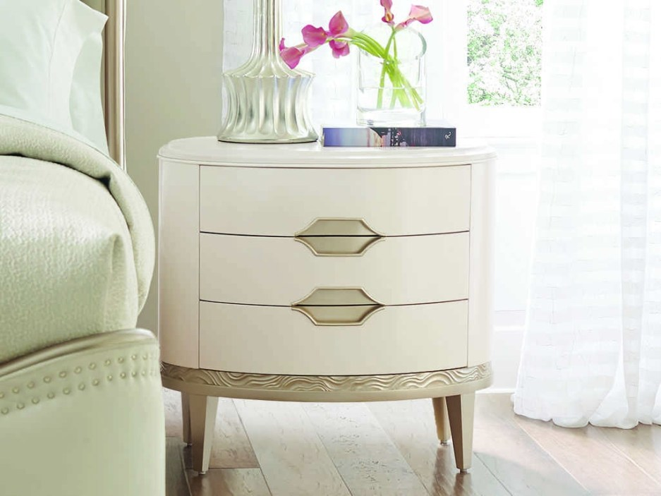 caracole compositions adela washed white blush taupe 30w x 22d oval three drawer nightstand