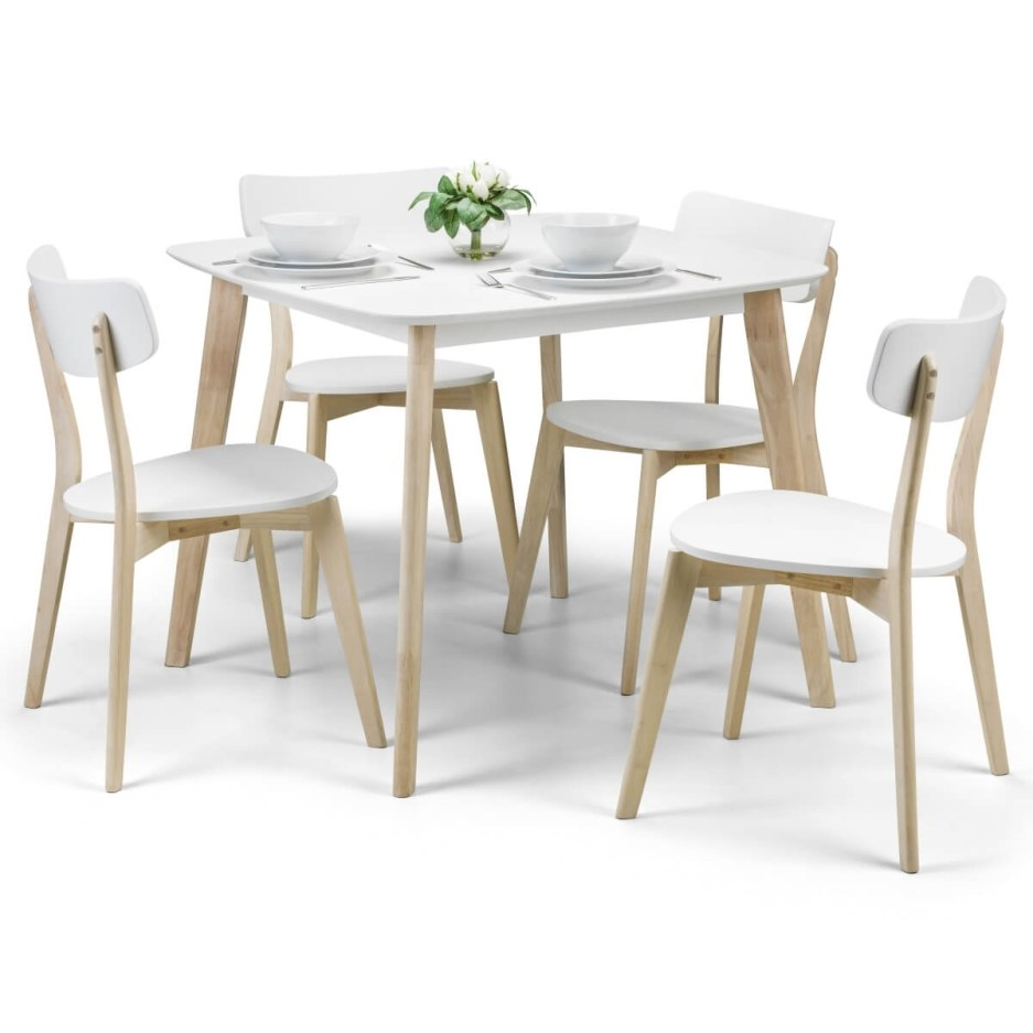 dining set casa dining table and 4 dining chairs in white and oak cas901