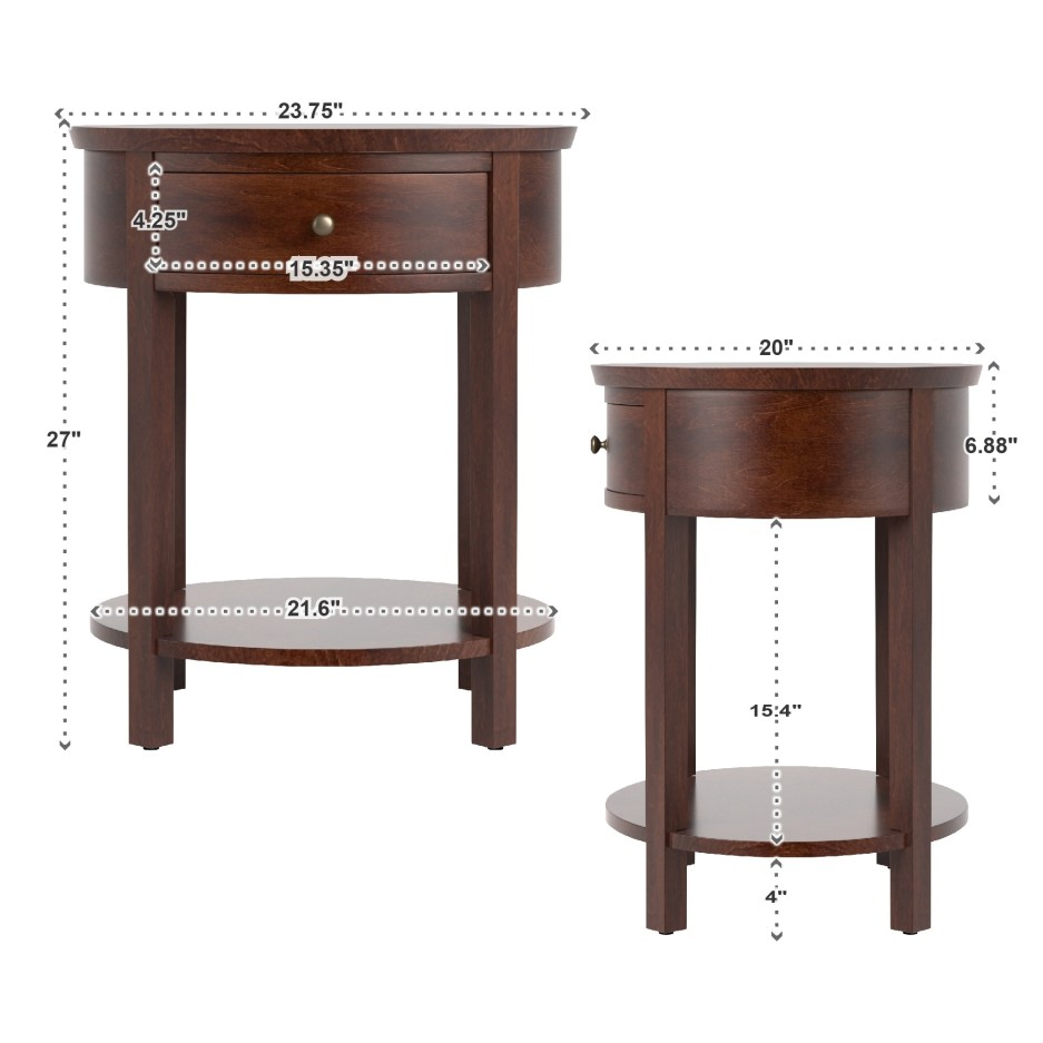fillmore 1 drawer oval wood shelf accent end table