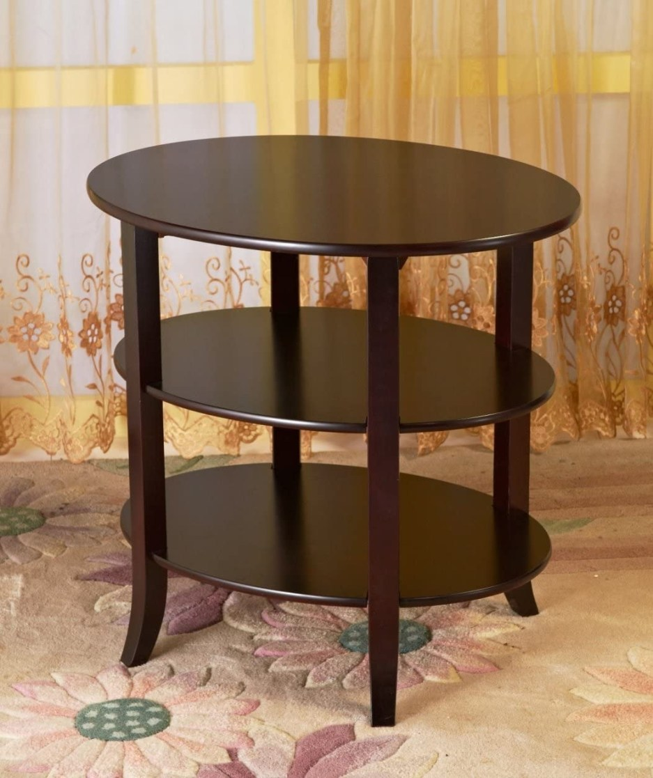 frenchi home furnishing 3 tier oval end table