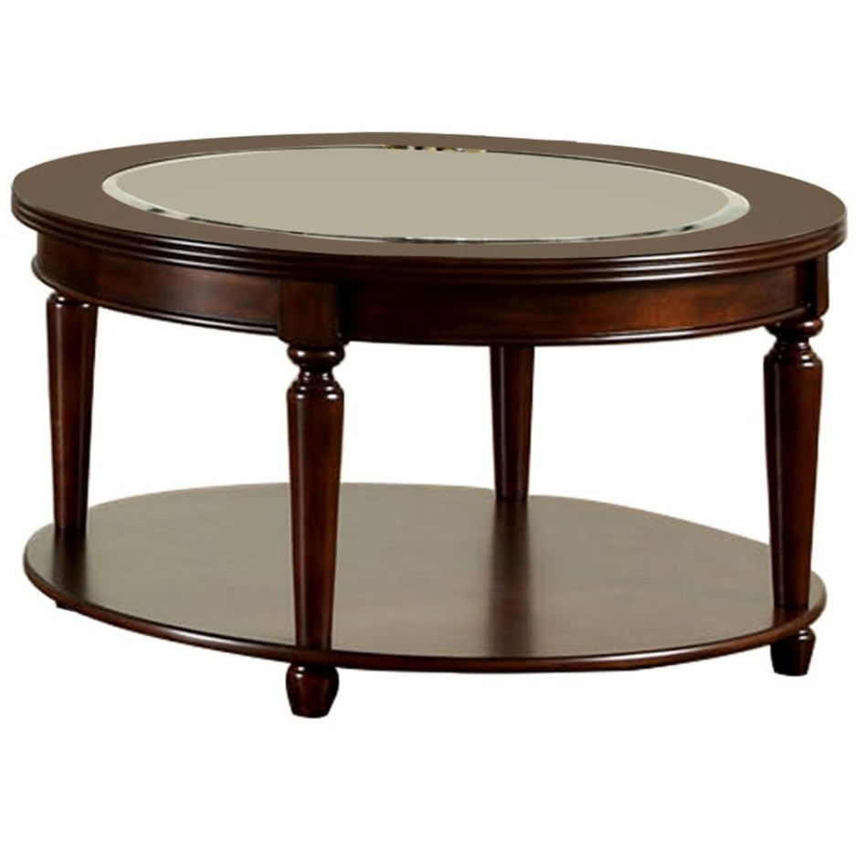 furniture of america granvia 48 in dark cherry large oval glass coffee table with shelf cm4131oc the home depot