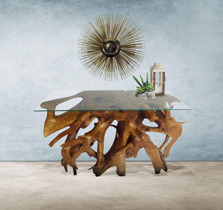 genuine teak wood root console table with glass top 48 inch made chic teak