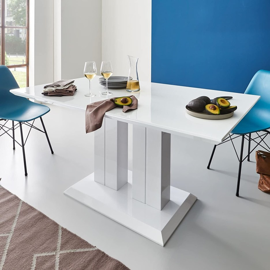 high gloss dining table140 x 80 cm lacquered white pedestal