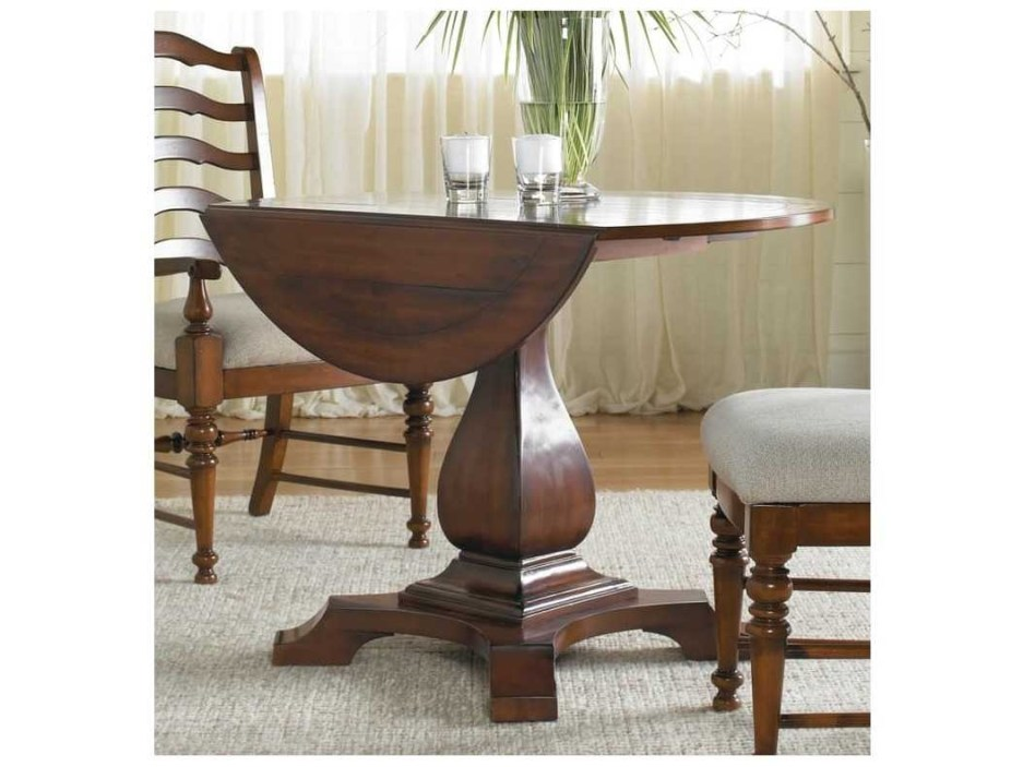 hooker furniture waverly place distressed antique cherry 42 wide round drop leaf pedestal dining table