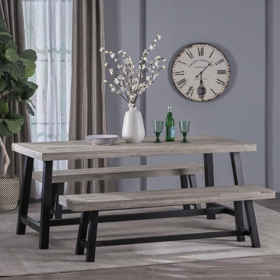 jubilee modern industrial 3 piece acacia wood picnic dining set with benches christopher knight home