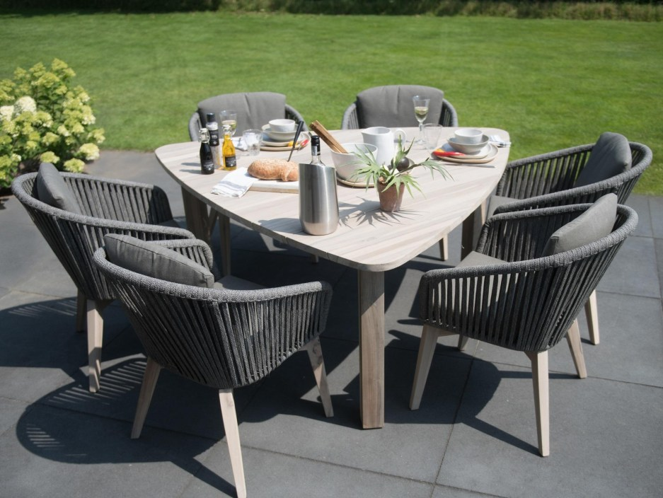 modern garden dining set linear rope all weather chairs