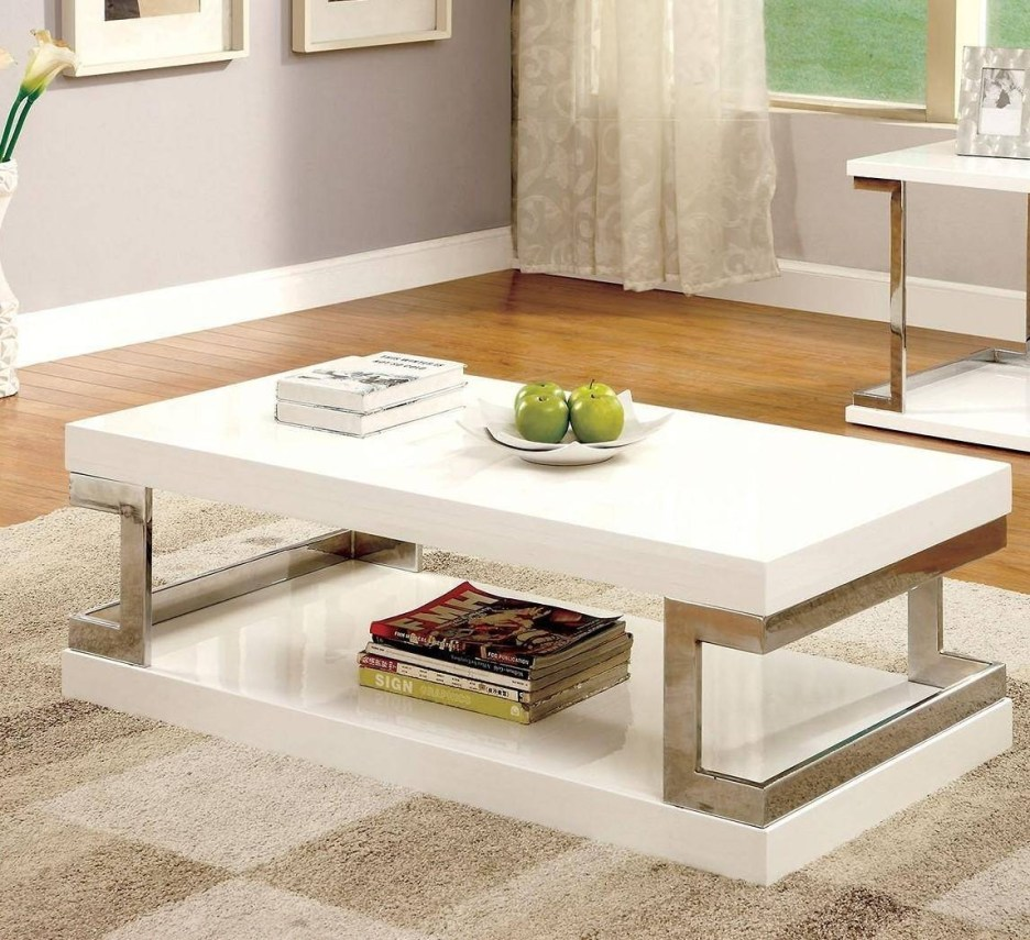 modern white high gloss lacquer coffee table set 2pcs meda