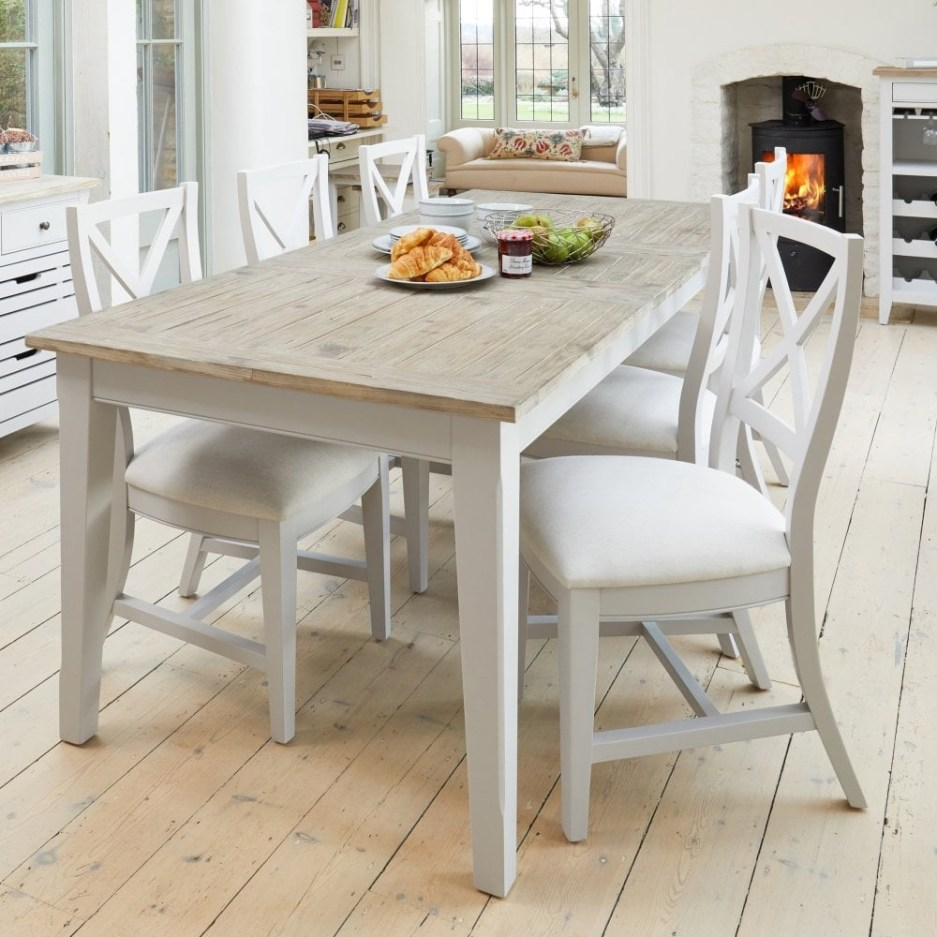 paige rectangular extending dining table distressed grey limed oak