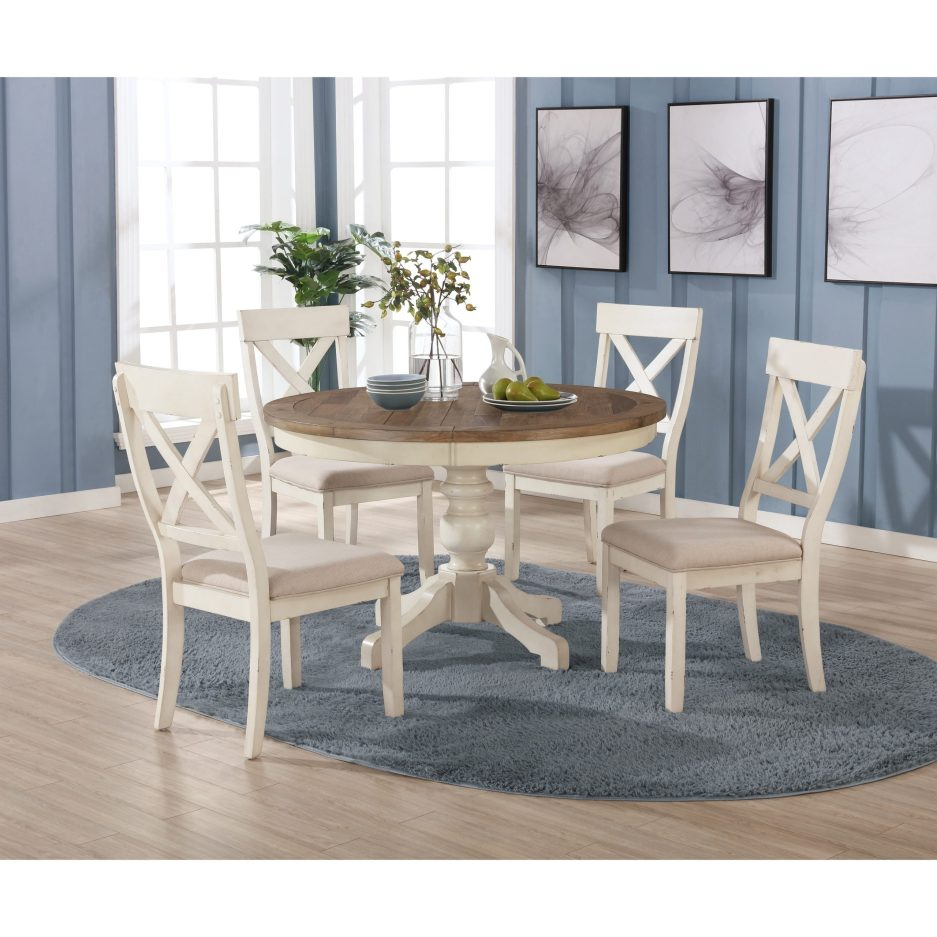 prato 5 piece round dining table set with cross back chairs antique white and distressed oak