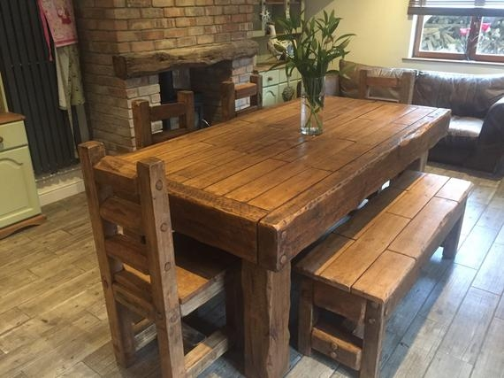rustic handmade old french oak dining table with matching chairs and bench