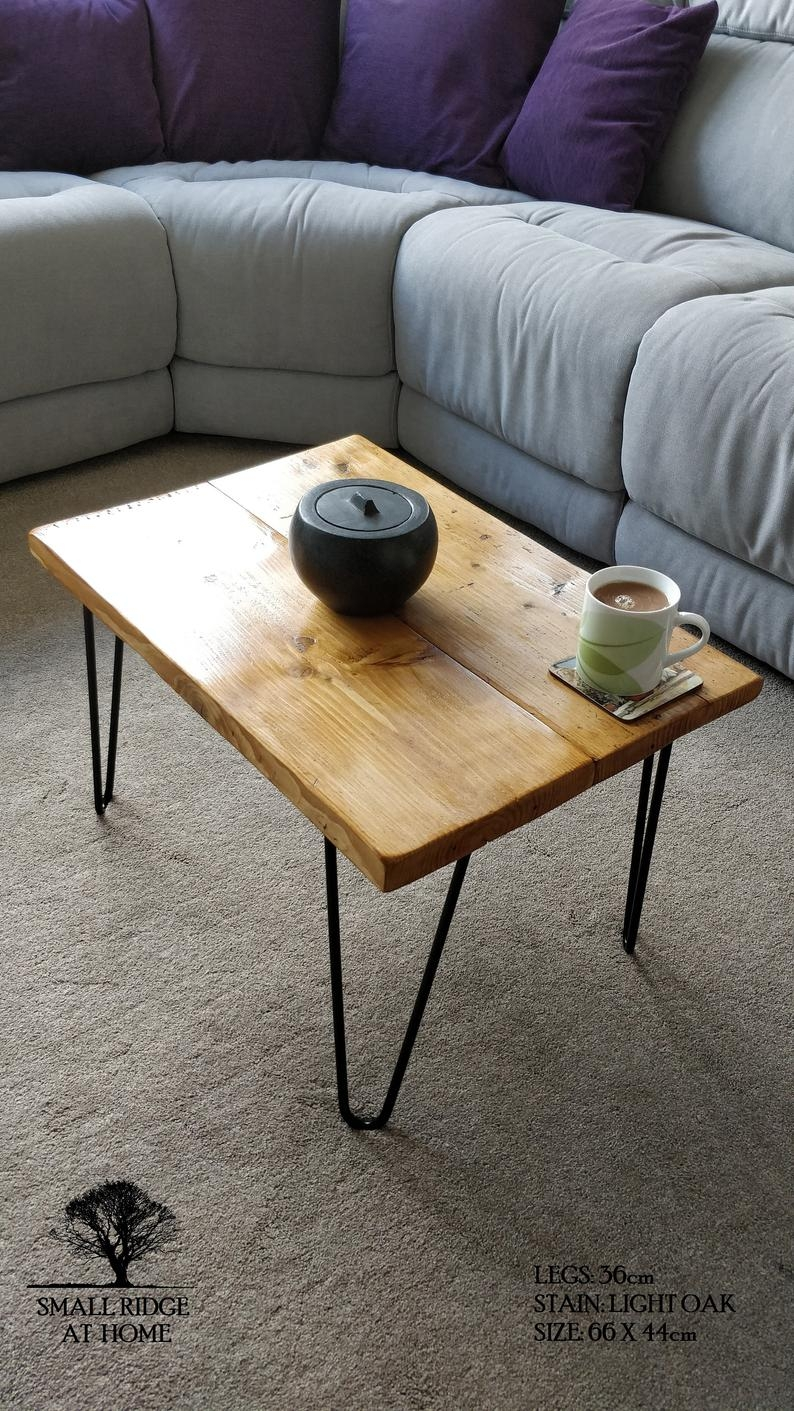 rustic reclaimed wood coffee table with hairpin legs