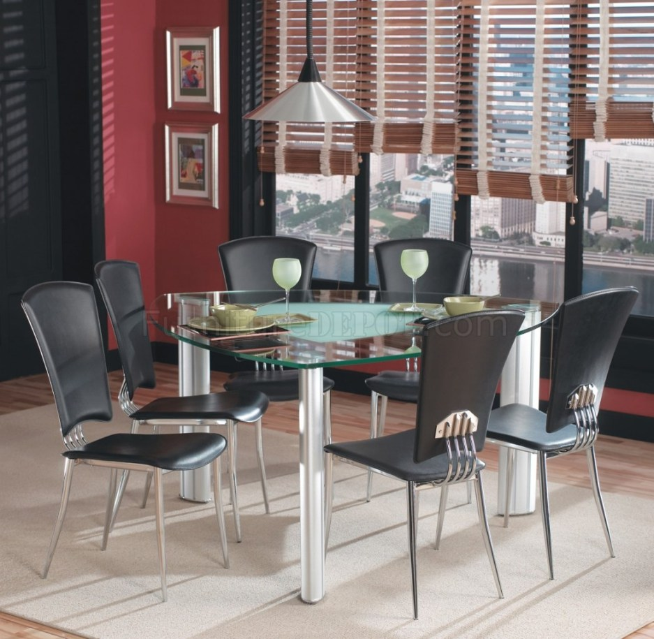 triangle glass top modern dining table woptional black chairs
