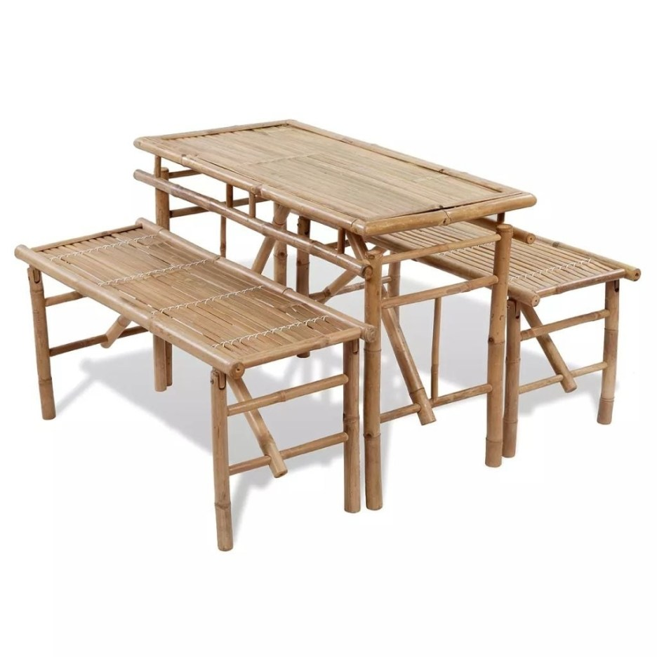 vidaxl picnic table bench set 3 pieces bamboo folding beer garden furniture