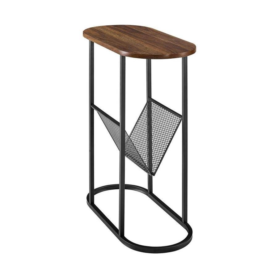walker edison 11 in oblong side table with magazine rack