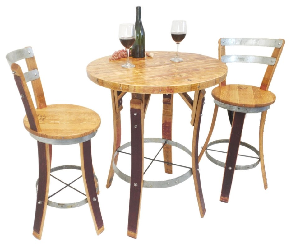 wine barrel bistro set with swivel top stools