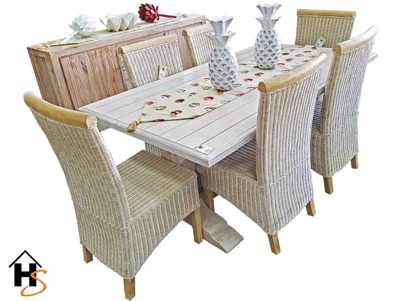 6 seater kyle white brushed dining table with jade white
