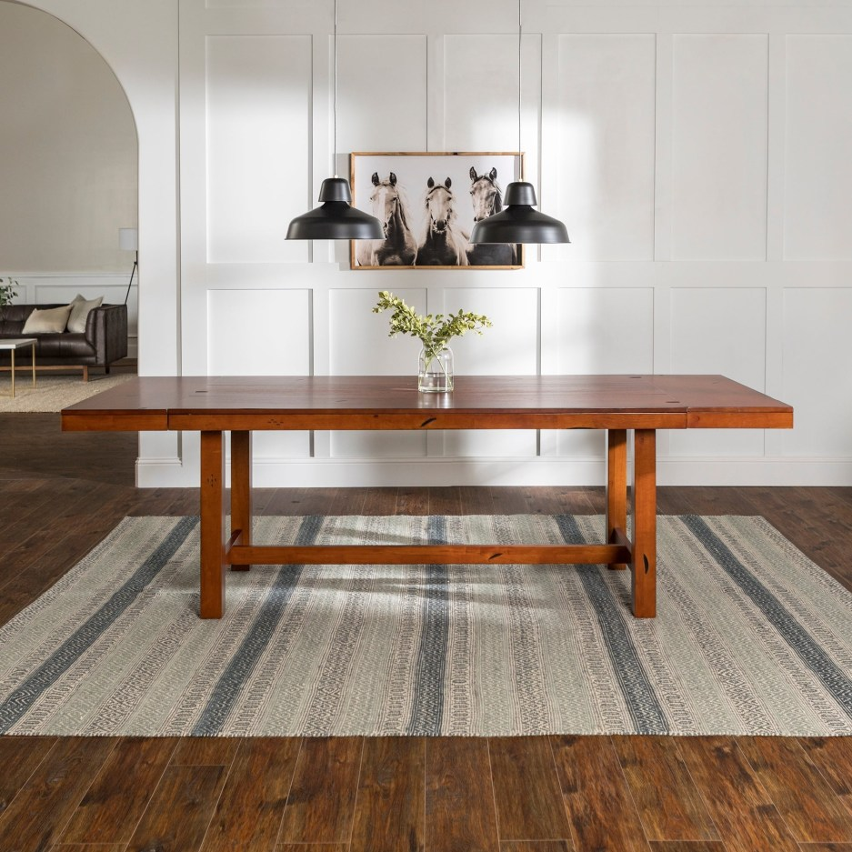 68 inch rustic dark oak wood trestle base dining table