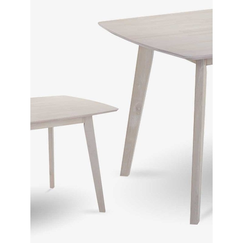 anja dining solid rubberwood oak veneer in white washed