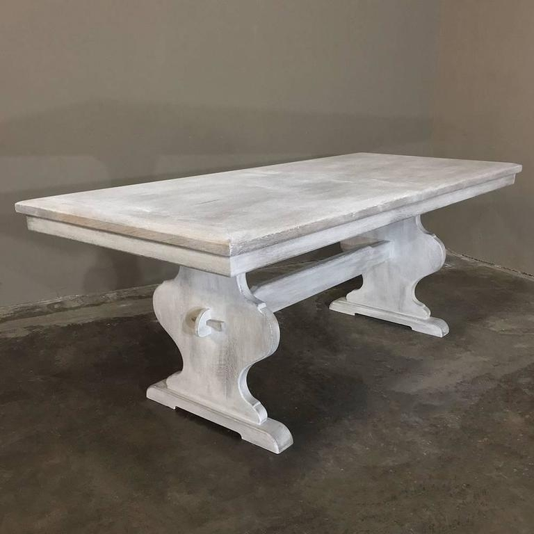 antique rustic whitewashed oak painted french trestle
