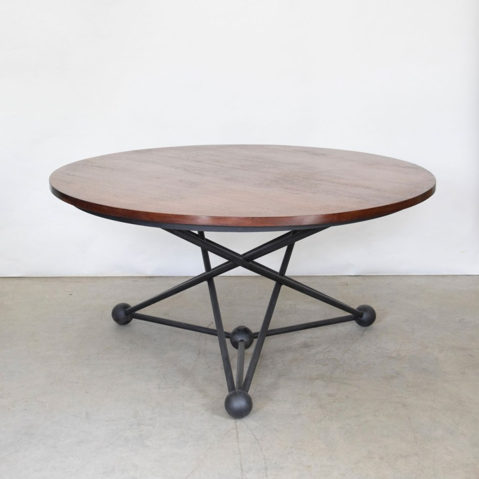 atom 60 round dining table black finish vintage danish oak top