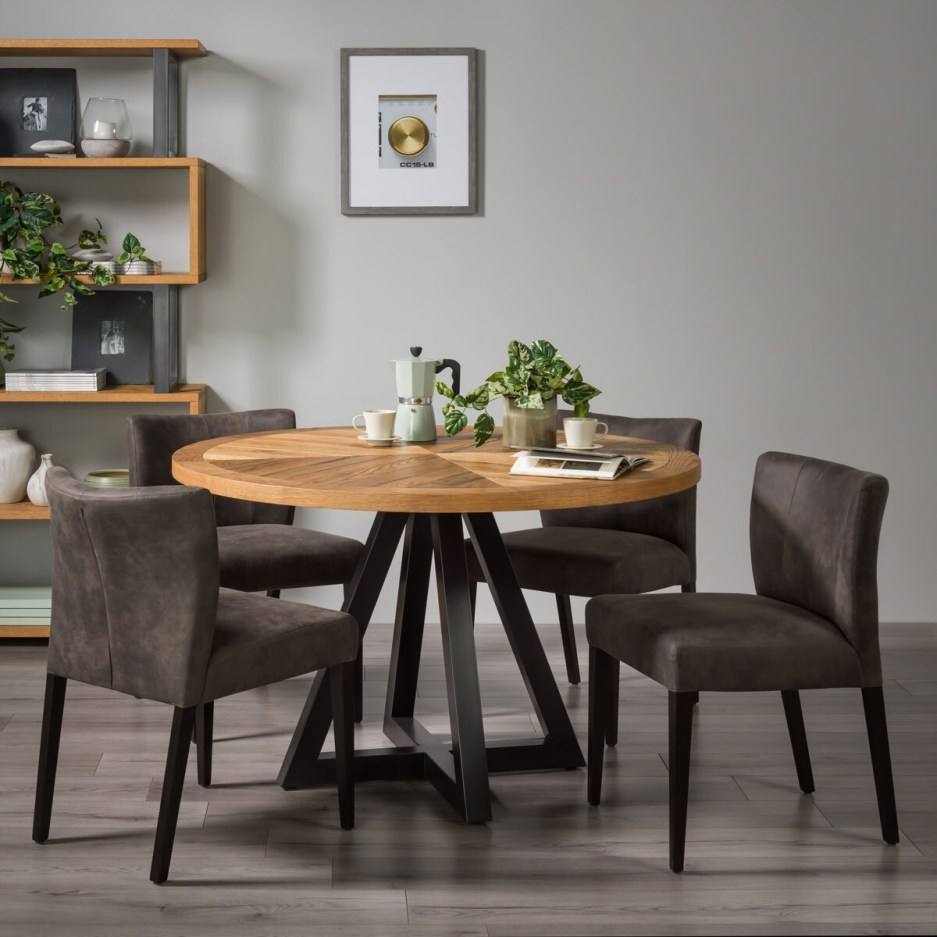 bentley designs chevron rustic oak round dining table 4 fabric chairs costco uk