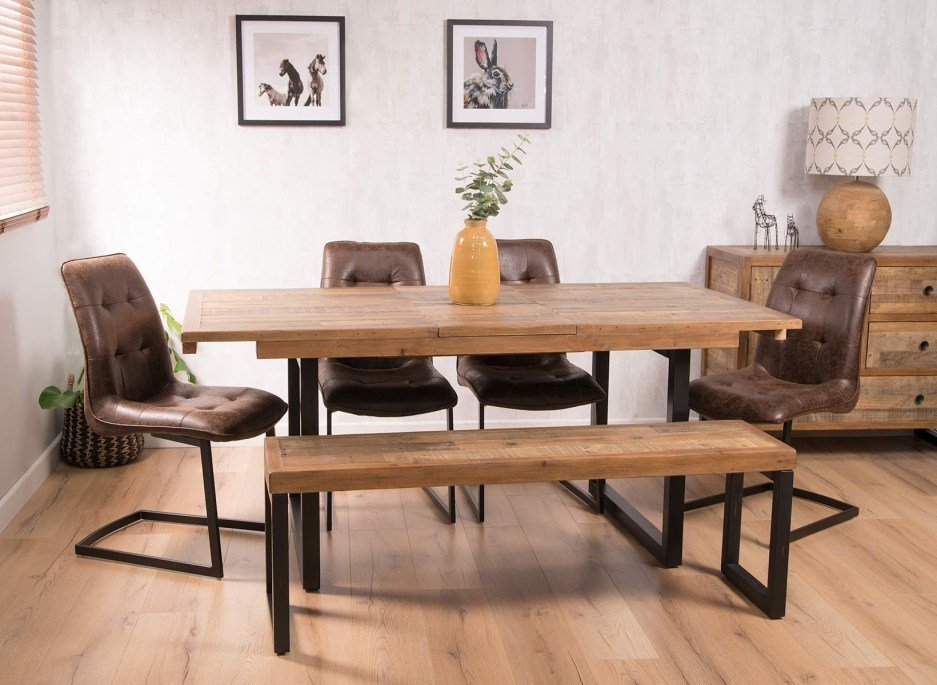 brooklyn industrial 6 seater extending dining bench set