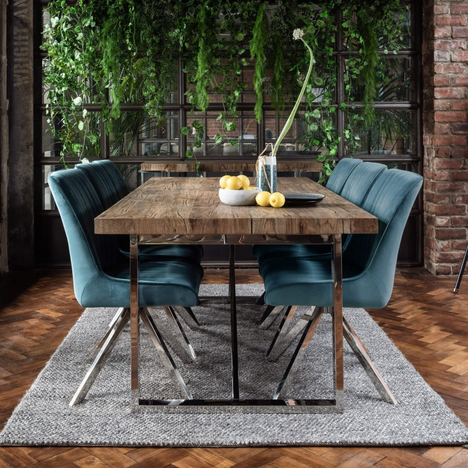 chateau oak 200cm dining table 6 camden teal chairs