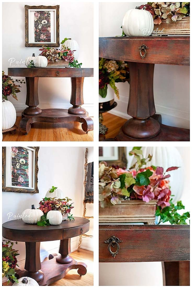 fall painted entryway table makeover salvaged inspirations