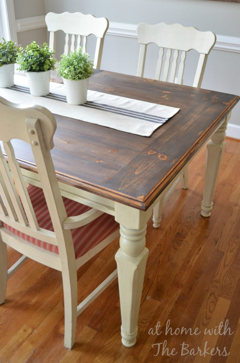 farmhouse table makeover at home with the barkers