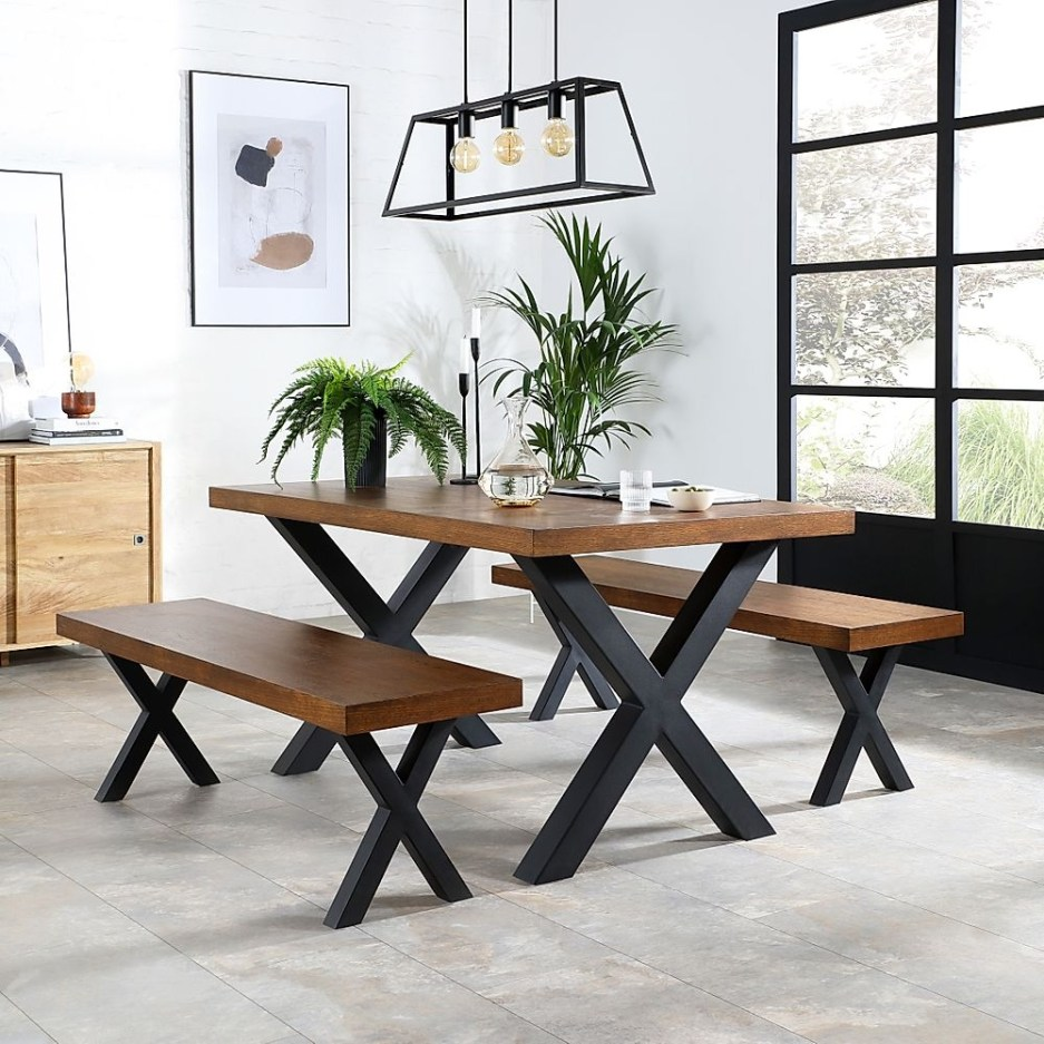 franklin industrial oak dining table and 2 benches