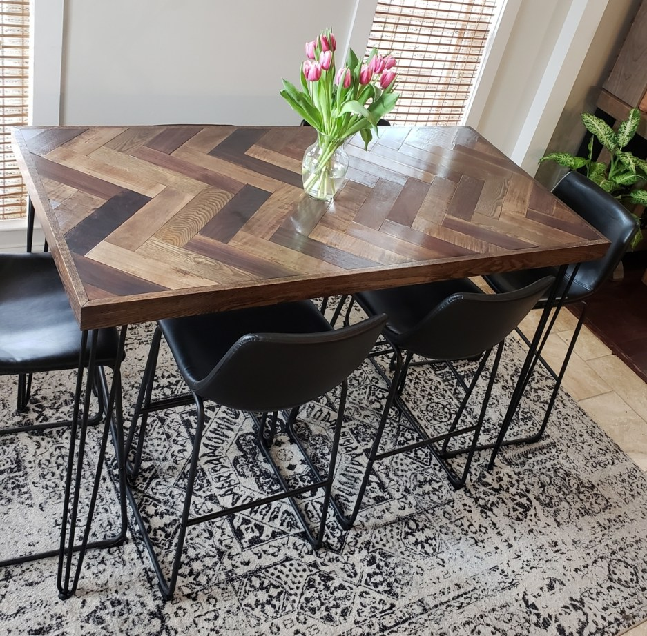 herringbone bar height dining table with hairpin legs ana