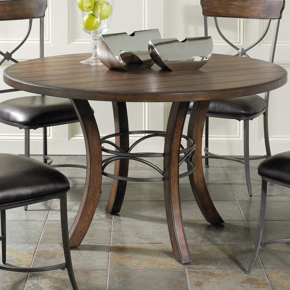 hillsdale cameron round wood dining table with metal acent