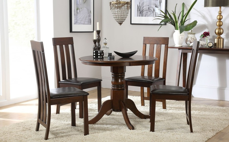 kingston round dark wood dining table with 4 chester chairs brown leather seat pad