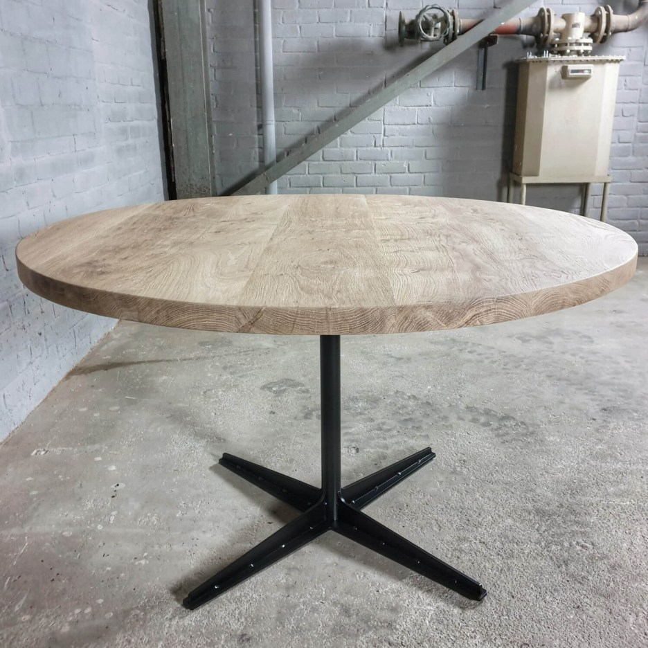 round industrial dining table rustic oak top modern