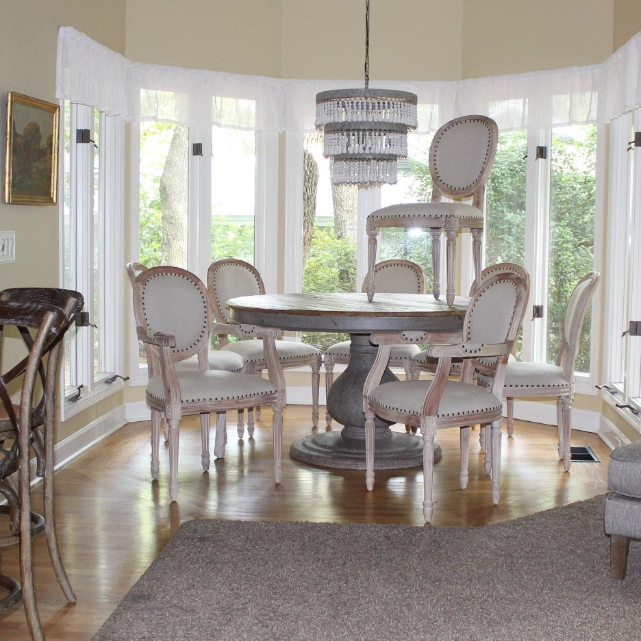 set dining room chairs two arm and six side aged white