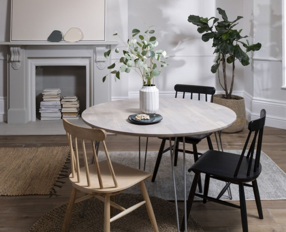 solid mango wood round dining table black hairpin legs 120cm
