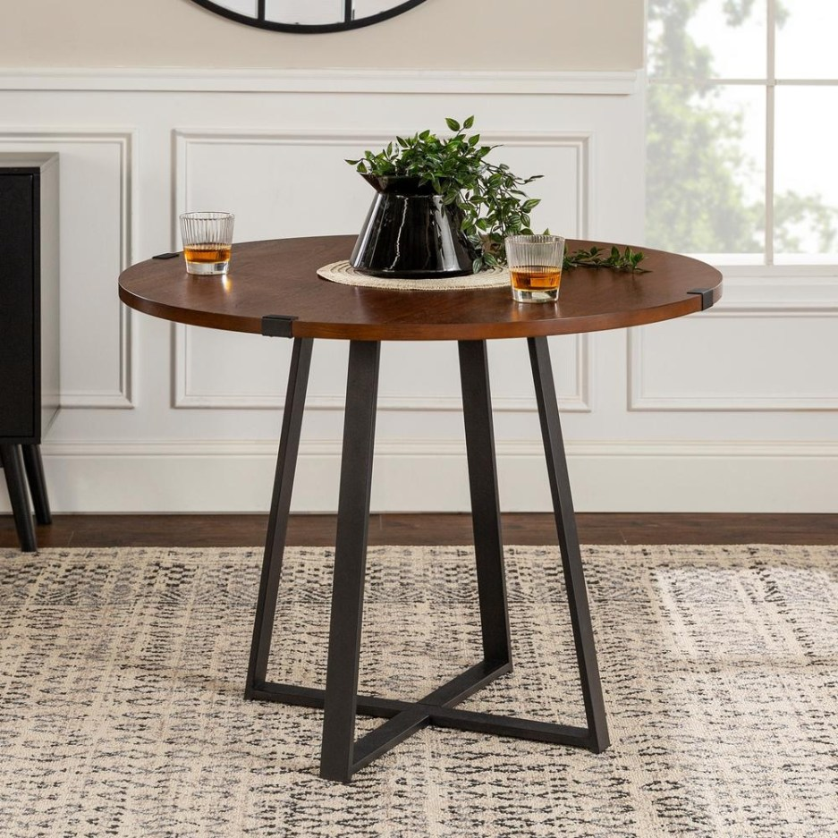 walker edison furniture company 40 in rustic round dark walnut black dining table hdw40rdwradw the home depot