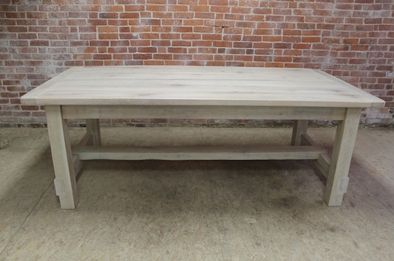 white washed farm table with stretcher lake and mountain
