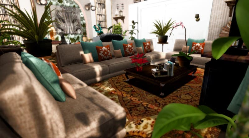 Carpet Teal and Brown Living Room
