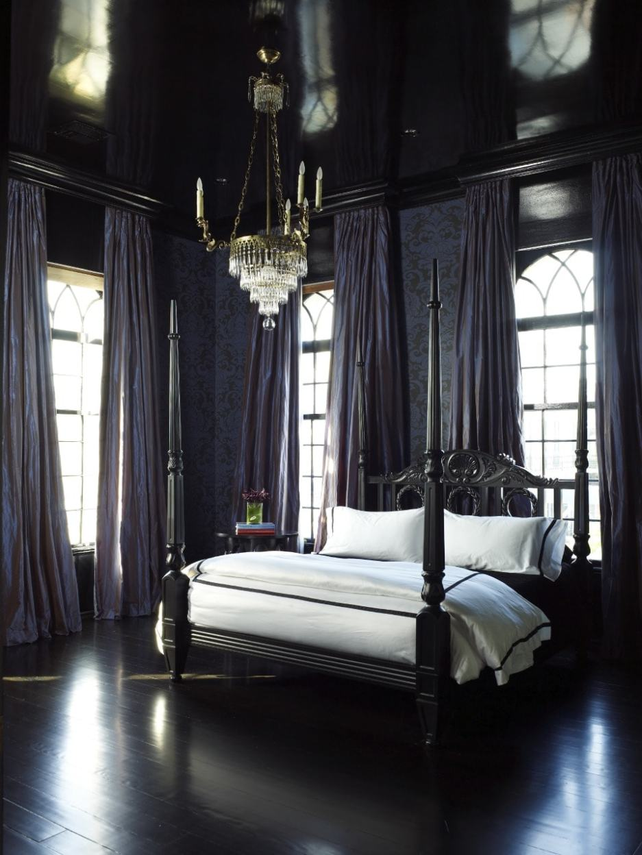 Large Curtain Bedroom Gothic ideas