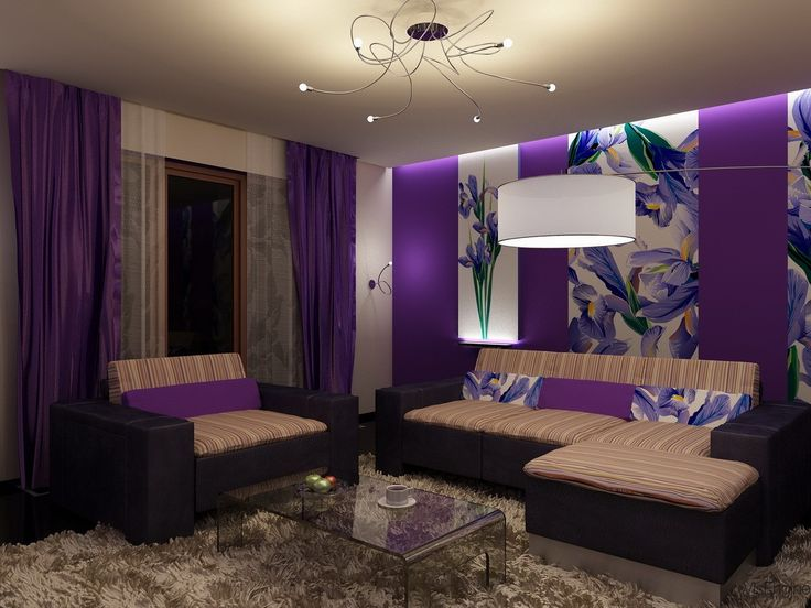 Purple living rooms with curtain and sofas comfortable