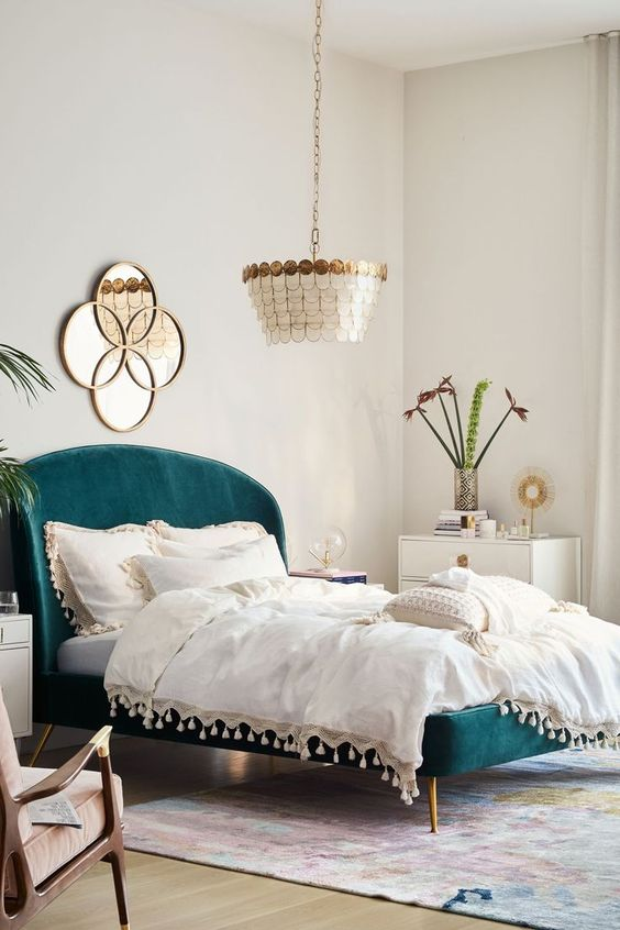 White Walls and Lighting Large Design for Bedroom
