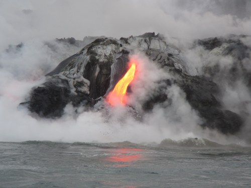 small resolution of molten lava and salt spray along the edge of the delta