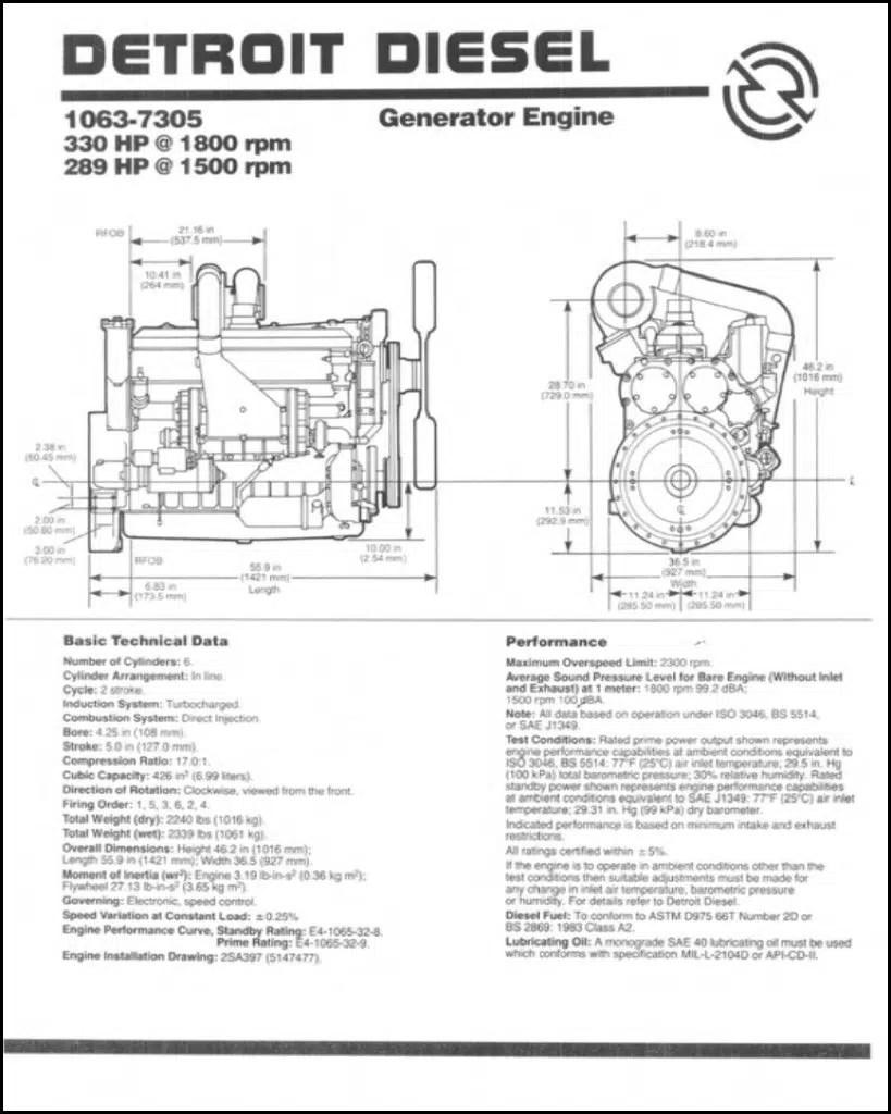 Detroit Diesel 1063-7305 diesel engine Technical Data