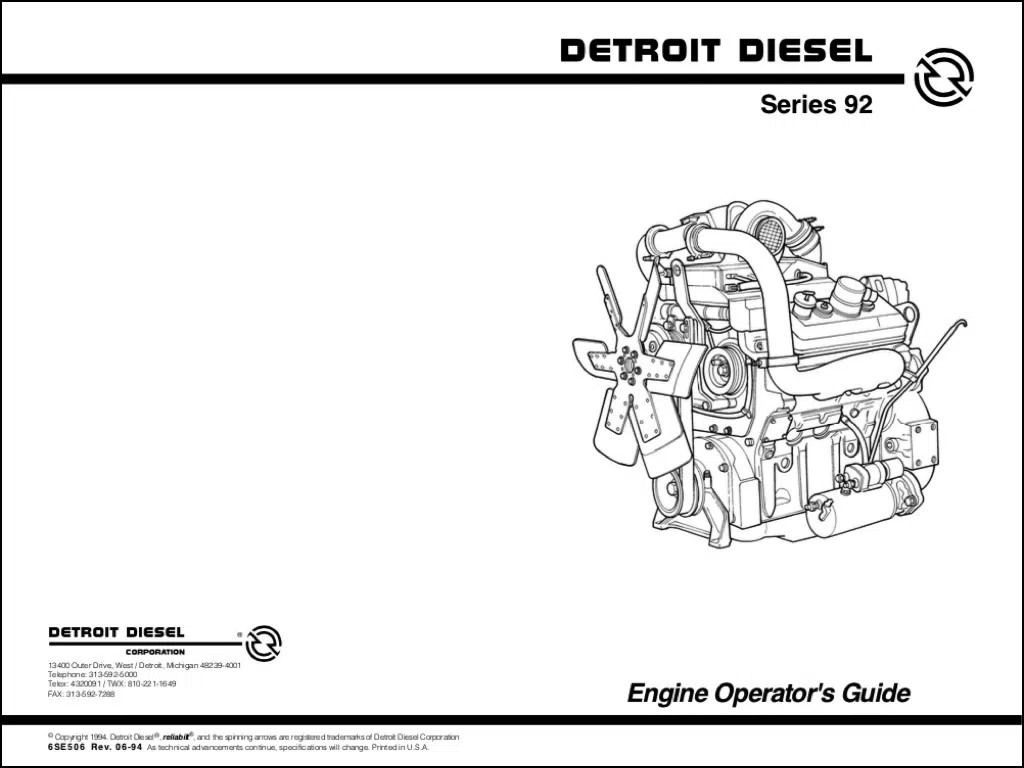 Detroit Diesel 92 Series diesel engine Operators Manual